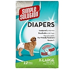 Disposable Dog Diapers 12 Pack XLarge Simple Solution