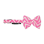 Mutt of Course Chevron Pink Dog Bow Tie- Medium