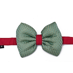 Mutt of Course Festive Collection Dog Bow Tie - Green & Pink - Large