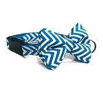 Mutt of Course Chevron Blue Dog Bow Tie - Large