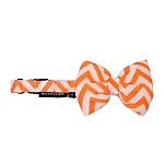 Mutt of Course Chevron Orange Dog Bow Tie- Medium