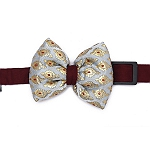 Mutt of Course Festive Collection Dog Bow Tie - Silver and Maroon - Small