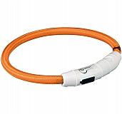 Trixie USB Flash Light Ring Collar Orange - Xsmall & Small