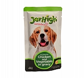 Jerhigh Chicken And Vegetable In Gravy Pouch - 120 gm