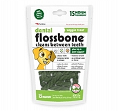 Petkin Dental Flossbone Veggie Treat Medium - 15 Counts
