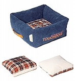 Touchdog Exquisite-Wuff Posh Rectangular Diamond Stitched Fleece Plaid Dog Bed - Small
