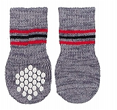 Trixie Dog Socks Non-slip Grey Xsmall & Small - 2 Pieces