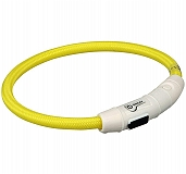 Trixie USB Flash Light Ring Collar Yellow - Large & Xlarge