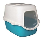 Trixie Vico Cat Litter Tray With Dome  Turquoise/White   (LxBxH - 23x16X16 Inch)