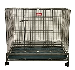 Large Metal Folding Dog Cage With Wheels (LxBxH-36X24X30 Inches)