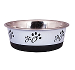 DogSpot Colored Paw Print Dog Bowl Grey - Medium