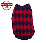 DogSpot Red And Navy Argyle Sweater size - 10