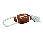 DogSpot Vinyl Squeaky American Football with Rope - 12 Inches
