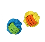 DogSpot Rubber & Rope Ball - 3.7 Inches