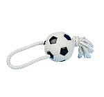 DogSpot Vinyl Squeaky Soccerball with Rope  - 12 Inches