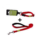 DogSpot Premium Leash and Collar Set Red 10 mm - Xsmall