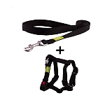DogSpot Premium Leash and Harness Set Black 15 mm - Xsmall