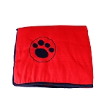 DogSpot Paw Print Velvet Dog Blanket Medium - Red