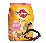 Pedigree Dog Food Puppy Chicken & Milk - 3 Kg With Ergocomfort Dog Collar Small-Red