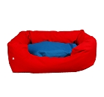 DogSpot Lounger Bed Red & Blue - Small - (LxWxH - 22x14x8) Inches