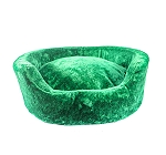 DogSpot Luxury Velour Basket Bed Emerald - Large -  32 Inches