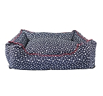 DogSpot Star Print Lounger Bed Blue - Small - (LxWxH - 24x15x8 Inches)