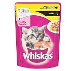 Whiskas Kitten Chicken in Gravy Pouch - 85 gm (Pack of 12)