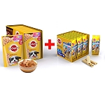 Pedigree Puppy Gravy Chicken & Rice 80gm ( 15 Pouch) +  Puppy Denta Tubos 1.2Kg ( 54 Sticks)