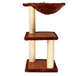PetSpot Mosaic Cat Tree With Hammock (LxBxH - 12.5x12.5x24.4) Inches