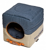 Touchdog Convertible And Reversible Vintage Printed Squared 2-In-1 Collapsible Dog House Bed - Large