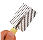 Dogspot Double Sided Comb With Wooden Handle