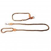 DogSpot British Style Braided Rope Slip Lead Matt Gold - Large