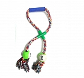 DogSpot Cross Loop Twin Tennis Tug Toy  - Large