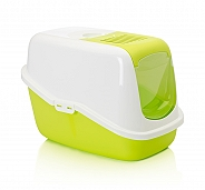 Savic Front Folding Cat Toilet Nestor - White/Lemon Green - (LxWxH - 22x15.3x15 inch)