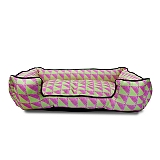 Mutt Of Course Water Color Pink & Green Lounger Bed - Small