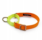 Forfurs Duo Martingale Collar Neon Orange & Lime Green - Medium