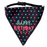 LANA Paws Happy Birthday Adjustable Bandana -Small & Medium