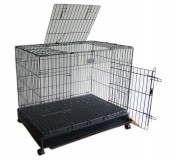 XLarge Metal Folding Double Door Dog Cage With Wheels, LBH-36x24x25 Inches