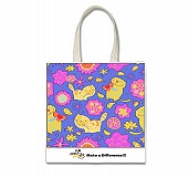 Hanging Bag With Caption Cat - Make A Difference - Purple - 16x16 Inch