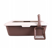CatSpot Premium Cat Litter Tray With Lid -Brown - (LxBxH - 18x15x6 inches)