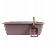 CatSpot Premium Cat Litter Tray - Exception Grey  - (LxBxH - 22x17x6.5 inches)