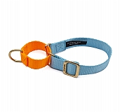 Forfurs Duo Martingale Collar Cocktail Blue & Neon Orange  - Medium