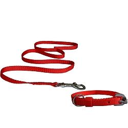 DogSpot Nylon Leash & Collar Set Red- Medium