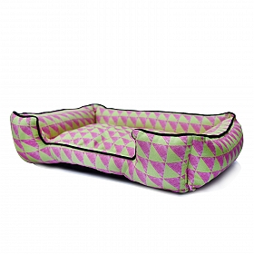 Mutt Of Course Water Color Pink & Green Lounger Bed - Medium