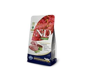 Farmina N&D Dry Cat Food Grain Free Quinoa Weight Management Lamb Adult - 5 Kg (Pack Of 2)