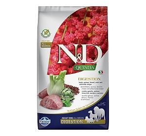 Farmina N&D Dry Dog Food Grain Free Quinoa Digestion Lamb Adult - 2.5 Kg (Pack Of 4)