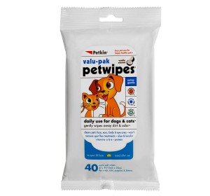 Petkin Valu-Pak PetWipes Vanilla Coconut For Dog & Cat - 40 pieces