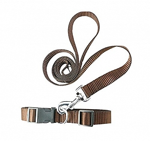 DogSpot  Leash & Collar Set Brown - Small