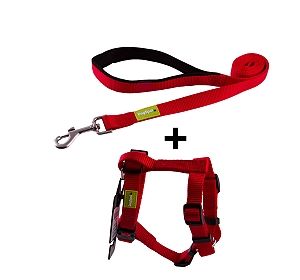 DogSpot Premium Leash and Harness Set Red 20 mm - Medium