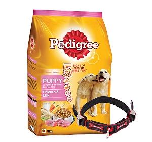 Pedigree Dog Food Puppy Chicken & Milk - 3 Kg With Ergocomfort Dog Collar Small-Red